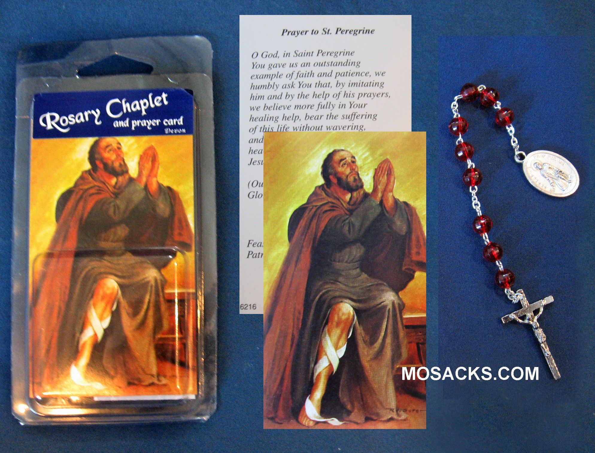 St. Peregrine Chaplet and Prayer Card, 5883/CP