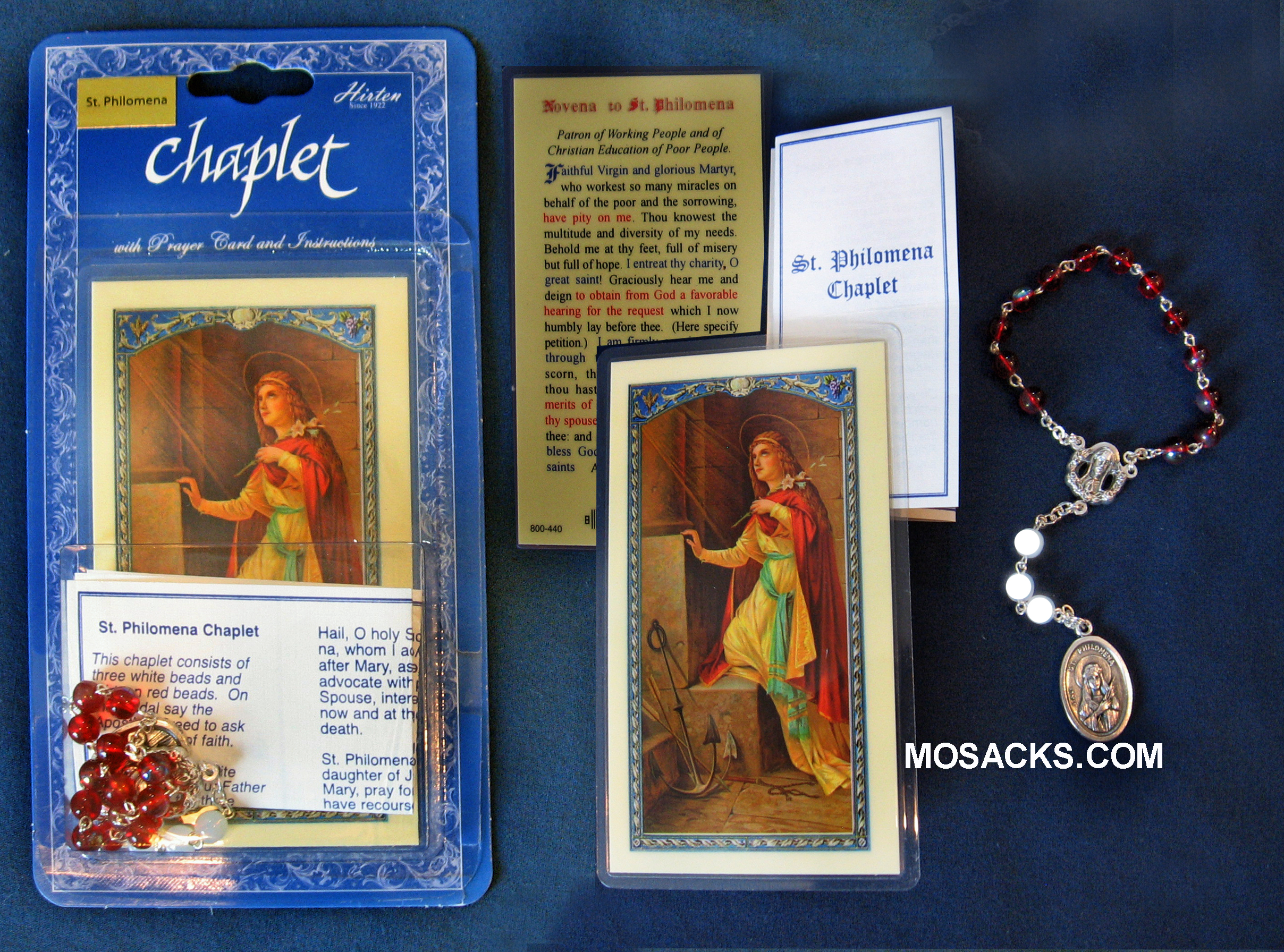 St. Philomena Chaplet and Prayer Card, 01098