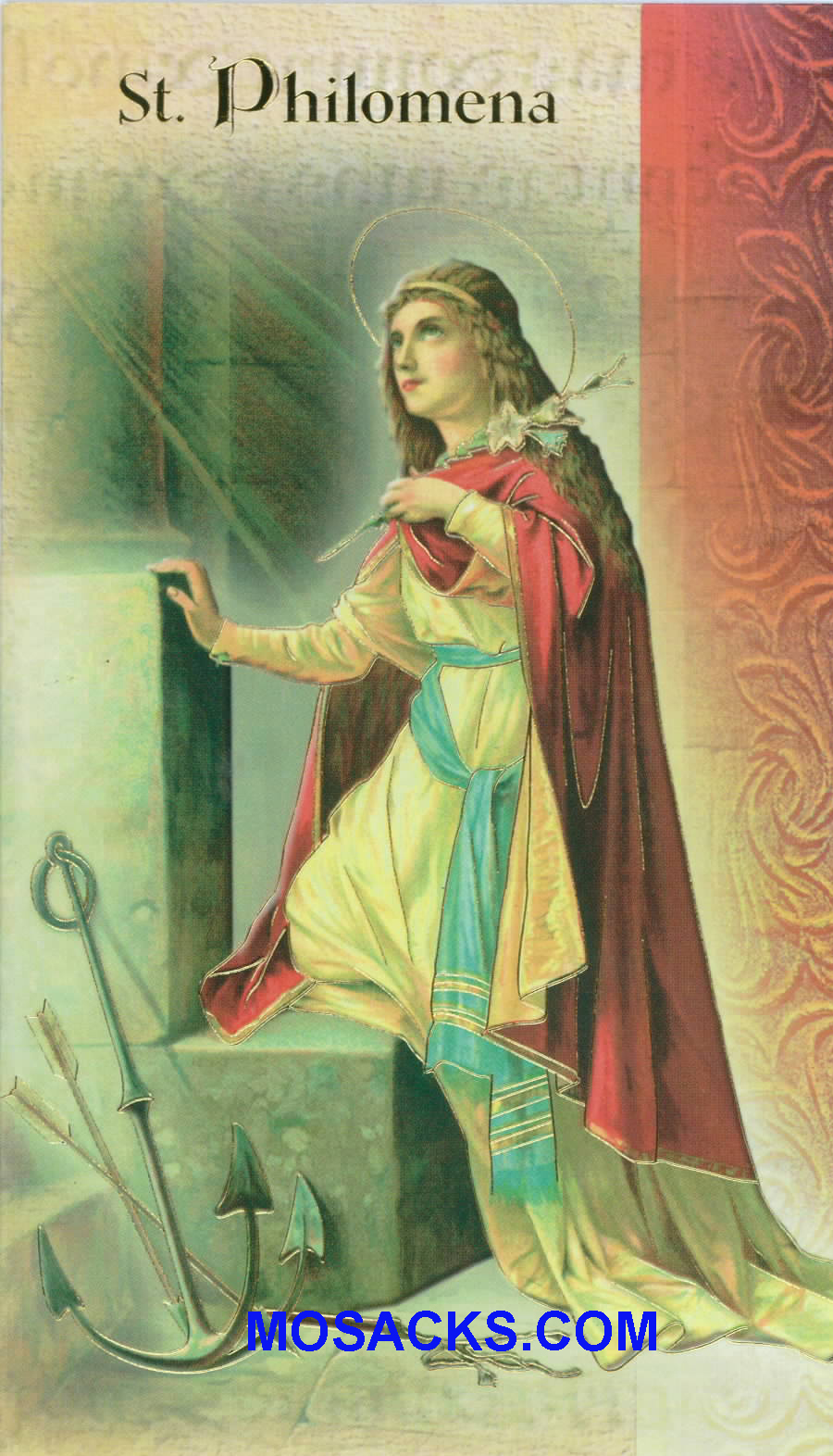 St. Philomena Laminated Bi-fold Holy Card, F5-520