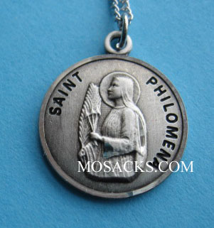 "St. Philomena Sterling Medal w/18"" S Chain"