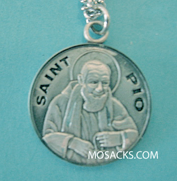 "St. Pio Sterling Silver Medal 20"" S Chain S-9633-20S"