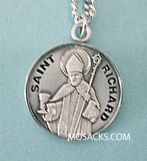 "St. Richard Sterling Medal w/20"" S Chain"