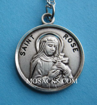 "St. Rose Sterling Medal w/18"" S Chain"