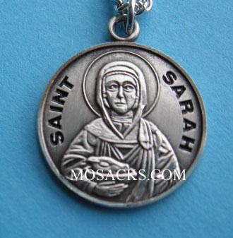 "St. Sarah Sterling Silver Medal, 18"" S Chain, S-9783-18S"