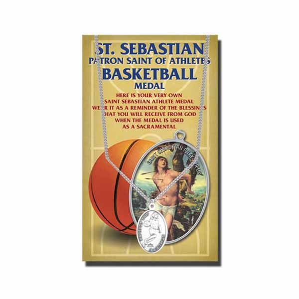 Pewter St. Sebastian Basketball Sports necklace 650-6044 St. Sebastian Basketball Medal 12-650-6044
