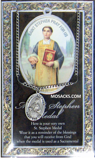 "St. Stephen necklace St. Stephen Pewter Medal 1-1/16"" h 950-546"