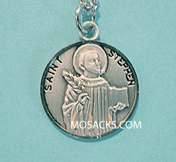 "St. Stephen Sterling Medal w/20"" S Chain"