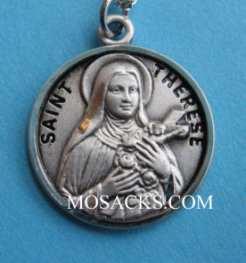 "St. Therese Sterling Silver Medal, 18"" S Chain, S-9789-18S"
