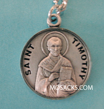 "St. Timothy Sterling Medal w/20"" S Chain"