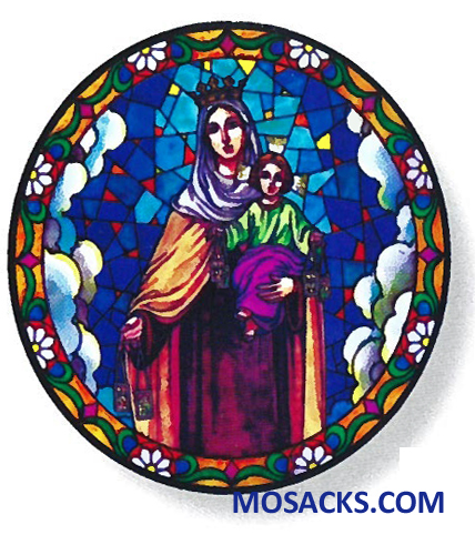 Stained Glass Suncatcher Window Decal Our Lady Of Mt Carmel 356-MT