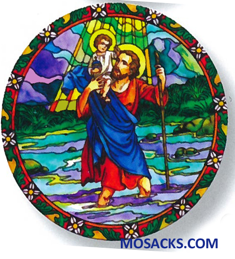 Stained Glass Suncatcher Window Decal St Christopher 356-CH