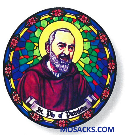Stained Glass Suncatcher Window Decal St Padre Pio 356-PP