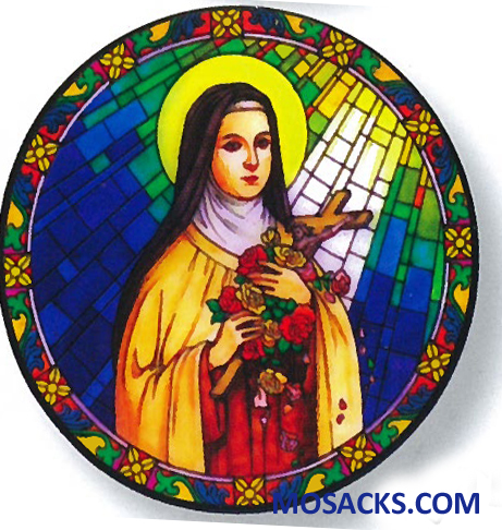 Stained Glass Suncatcher Window Decal St Therese of Lisieux 356-TH