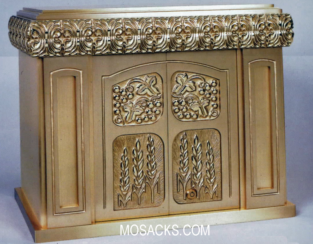 Bronze Cathedral Style Tabernacle with Wheat & Grapes Motif 97TAB25