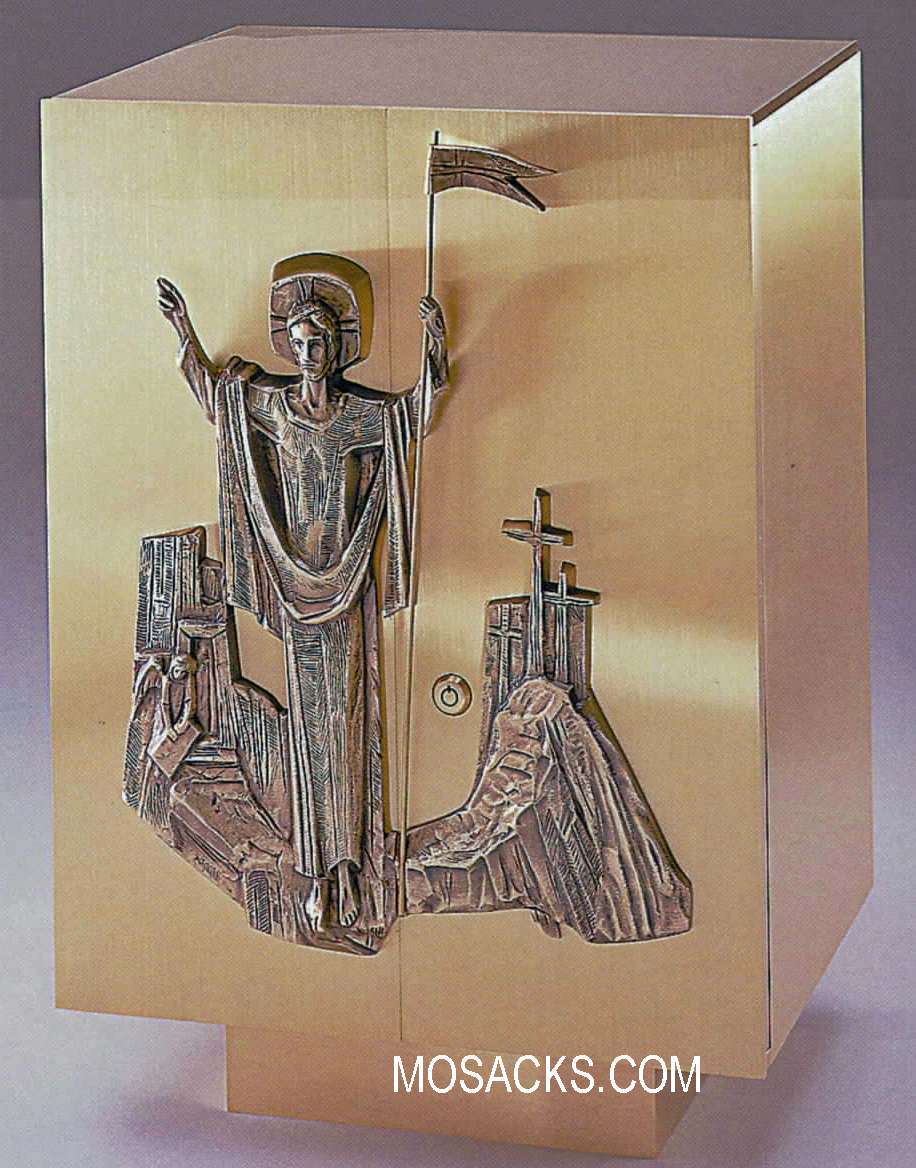 Bronze Tabernacle with Christ Is Risen Motif 97TAB43