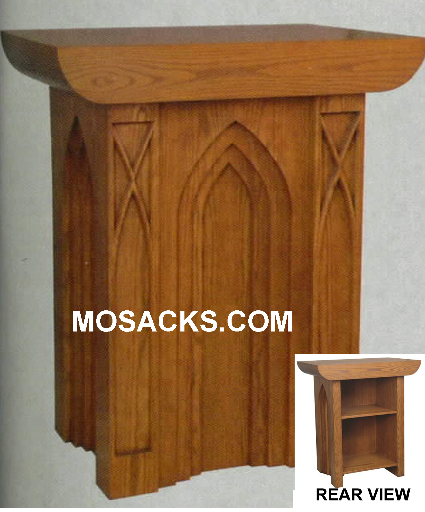 "Altar - Wood Altar with Gothic Arches 60"" wide x 62"" deep x 40"" high 40-637 Available in Various Wood Finishes"