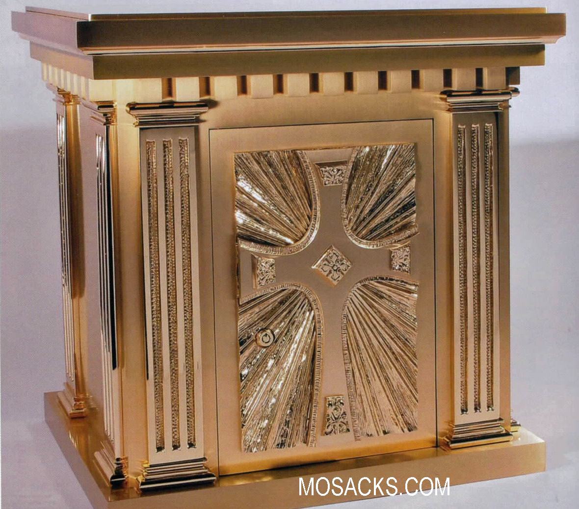 Bronze Tabernacle with Sunburst Cross Motif 10TAB5