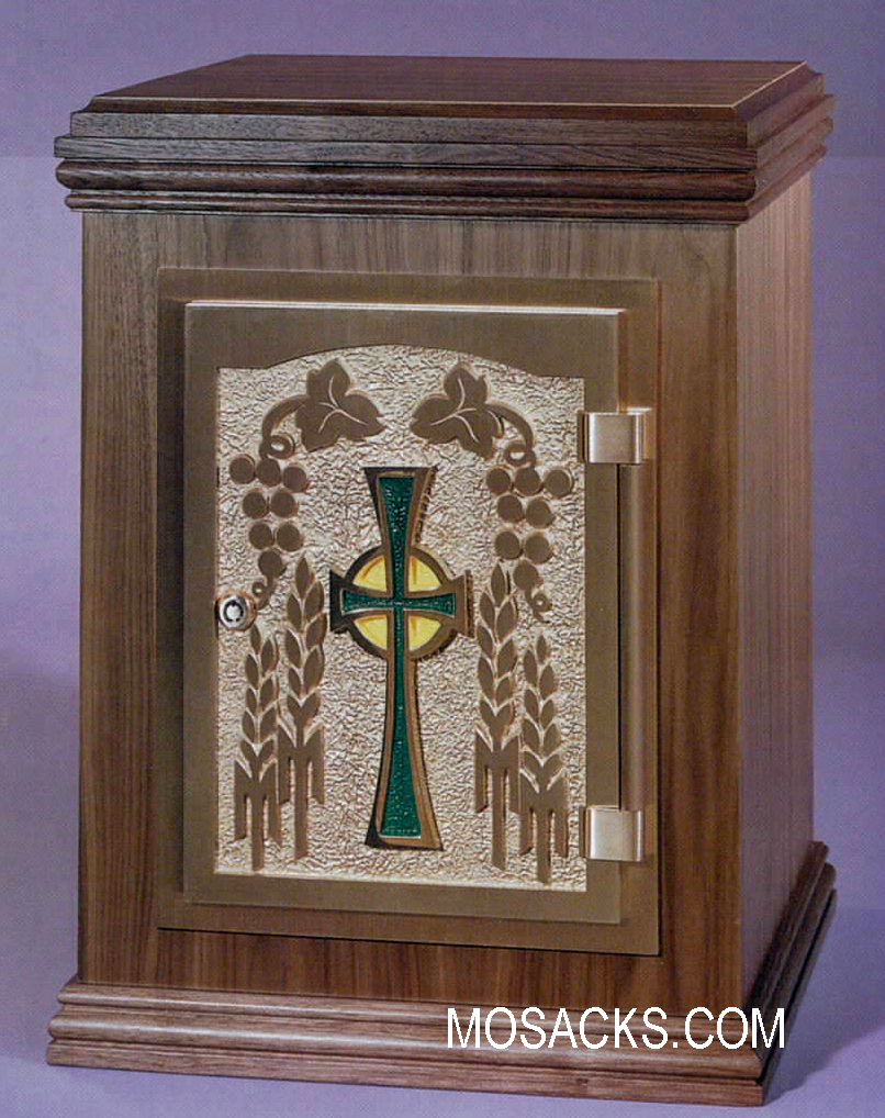 Bronze Door Tabernacle w/ Walnut Case & Emerald Cross Motif 36TAB50-WE