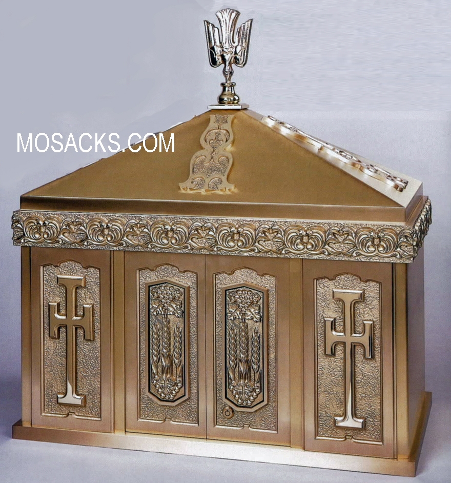 Bronze Tabernacle with Dove Finial and Wheat & Cross Motif 29TAB21