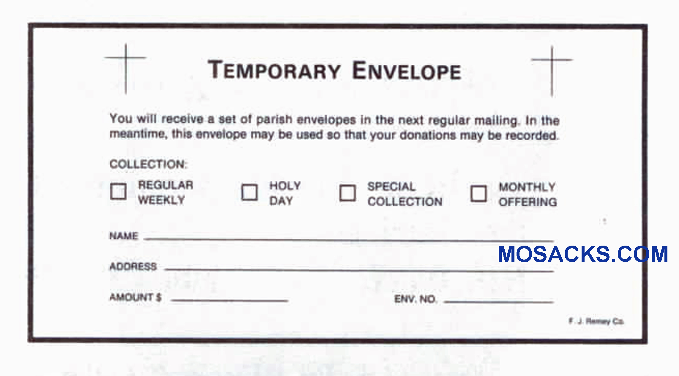 Temporary Envelope 6-1/4 x 3-1/8 Church Offering Envelope #304-383