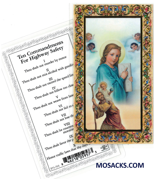 Ten Commandments for Highway Safety Laminated Holy Card E73-794
