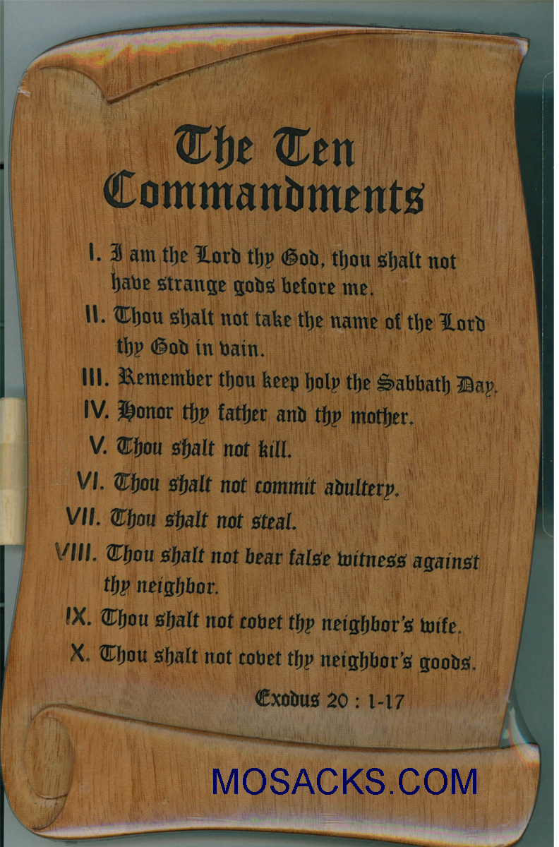 Ten Commandments Wood Plaque-N1857TCC