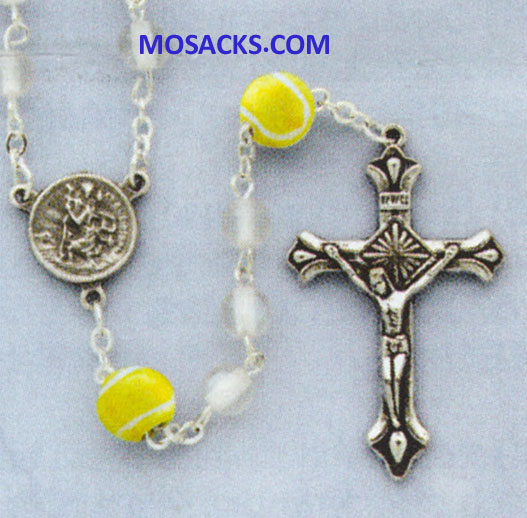 Volleyball White Glass Rosary 64-60465/WH/VLBL Sports Rosary.