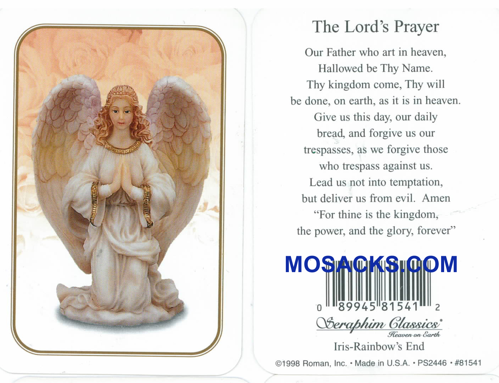 The Lord's Prayer Seraphim Angel Holy Card-81541