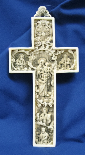True Church Cross Antiqued Alabaster 6 1/2 Inch #AF2R
