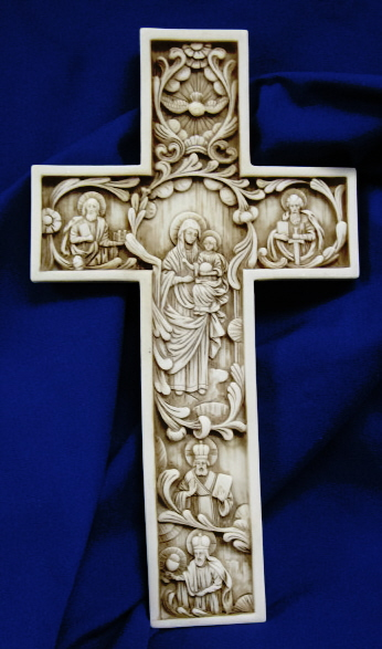 True Church Cross Antiqued Alabaster 12 Inch  #AF2187A