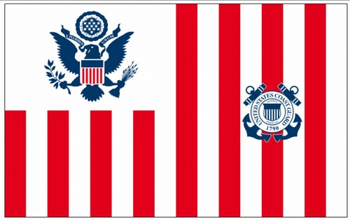 "U. S. Coast Guard Ensign Flag 60"" x 96"" Printed Flags in Perma-Nyl Nylon 214-GSP9015 with duck heading and brass ring and snap"
