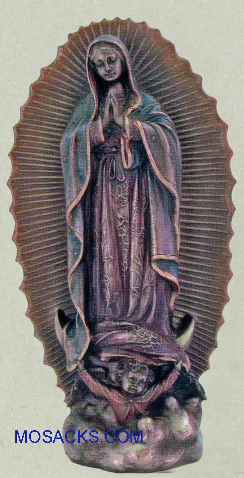 "Our Lady of Guadalupe Veronese Bronze Statue 9 1/2"", SR-74694"