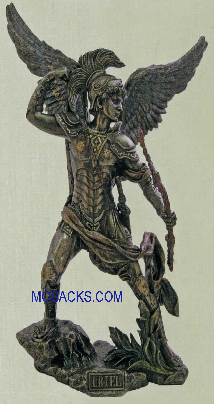 "St.Uriel the Archangel Veronese Bronze Statue 13 1/4"", SR-74699"