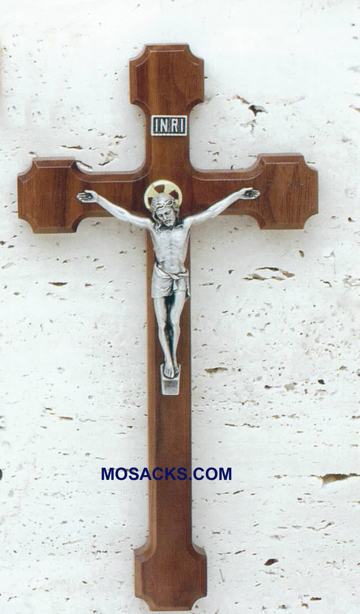 "Walnut 10"" Crucifix with Salerni corpora 17519 10"" Walnut Crucifix"