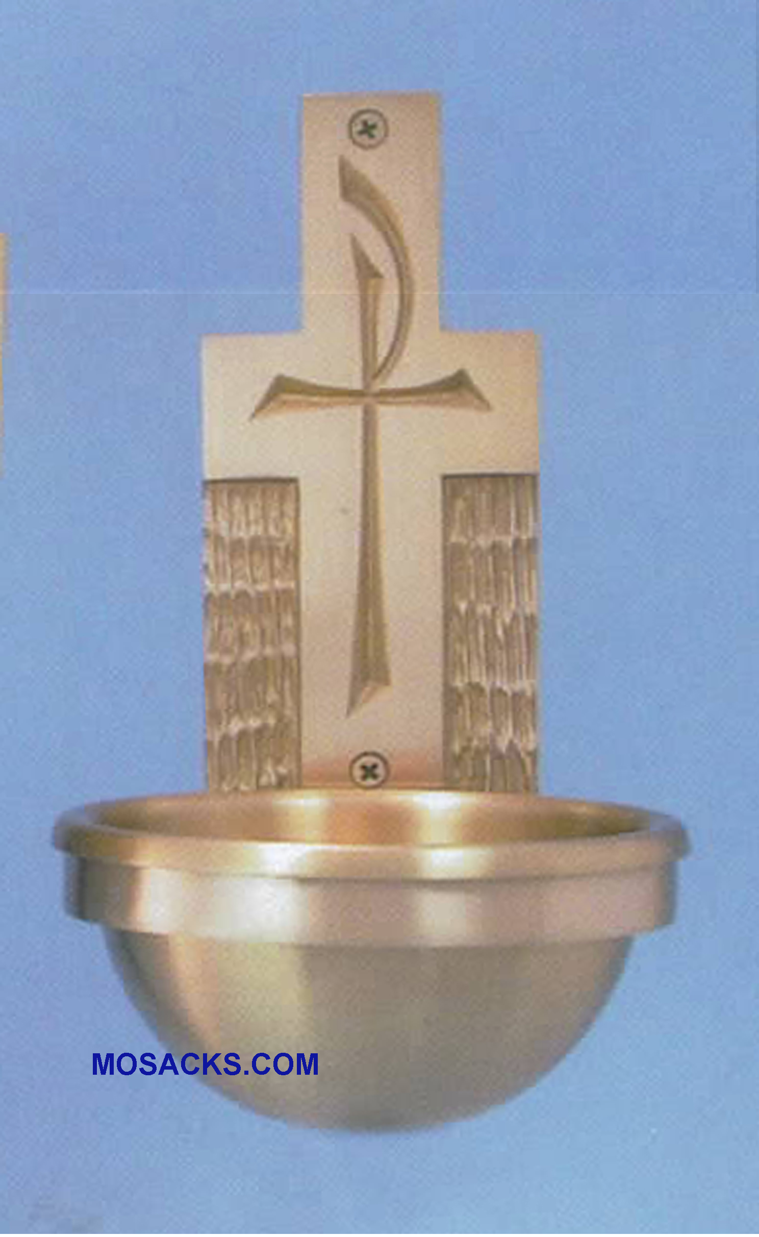 Bronze Holy Water Font Chi Rho on Cross 77HWF45