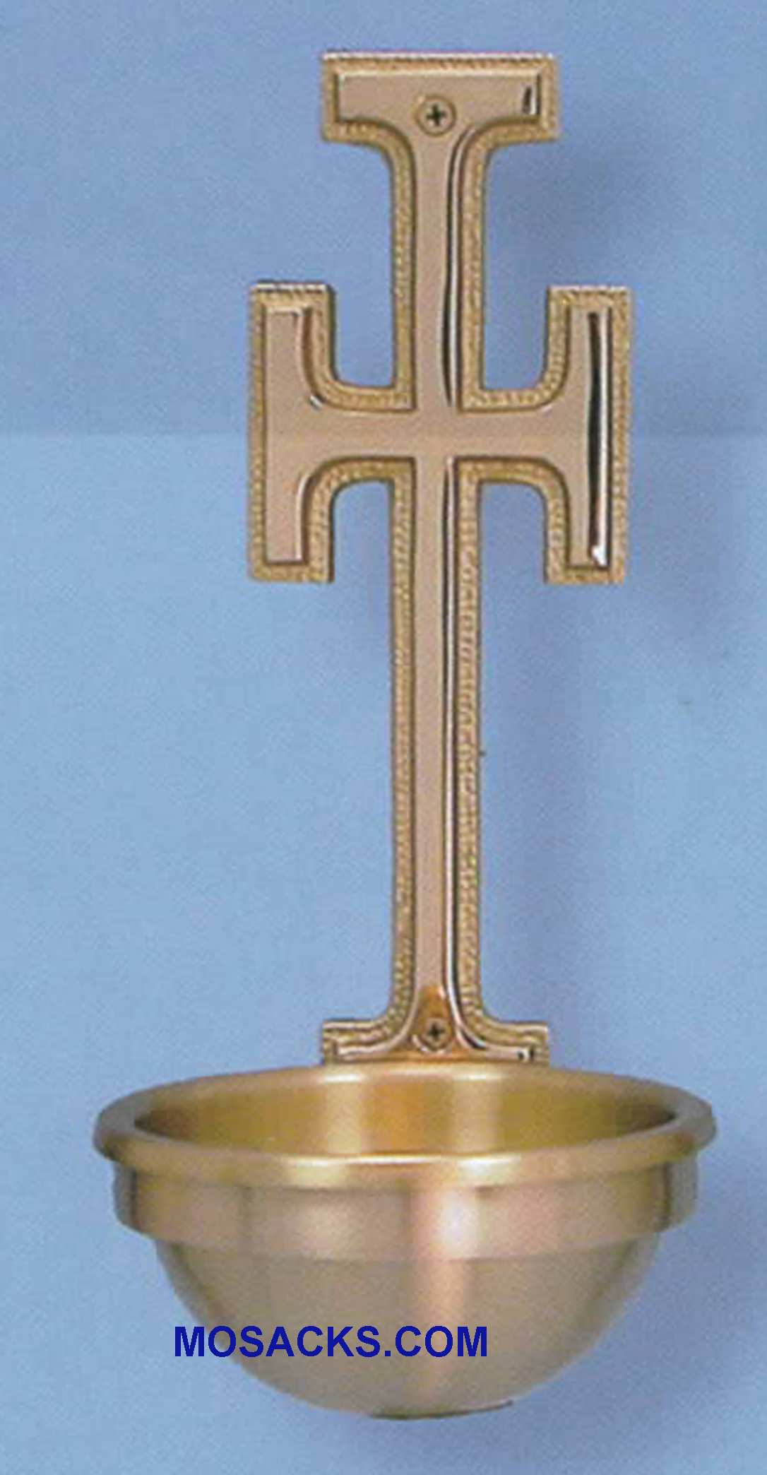 Bronze Holy Water Font w/Cross Back Plate