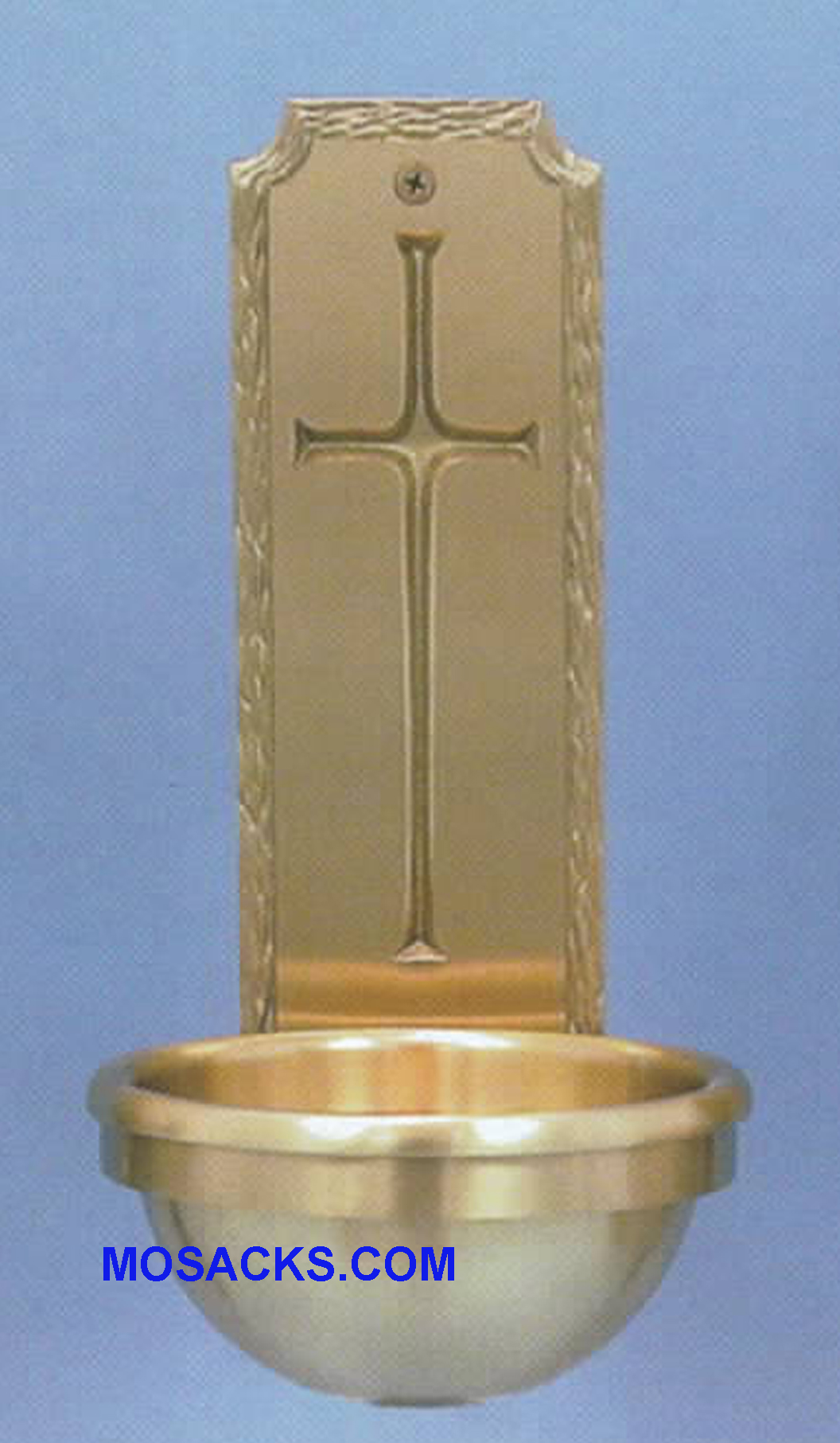 Bronze Holy Water Font Cross w/Textured Border 59HWF59