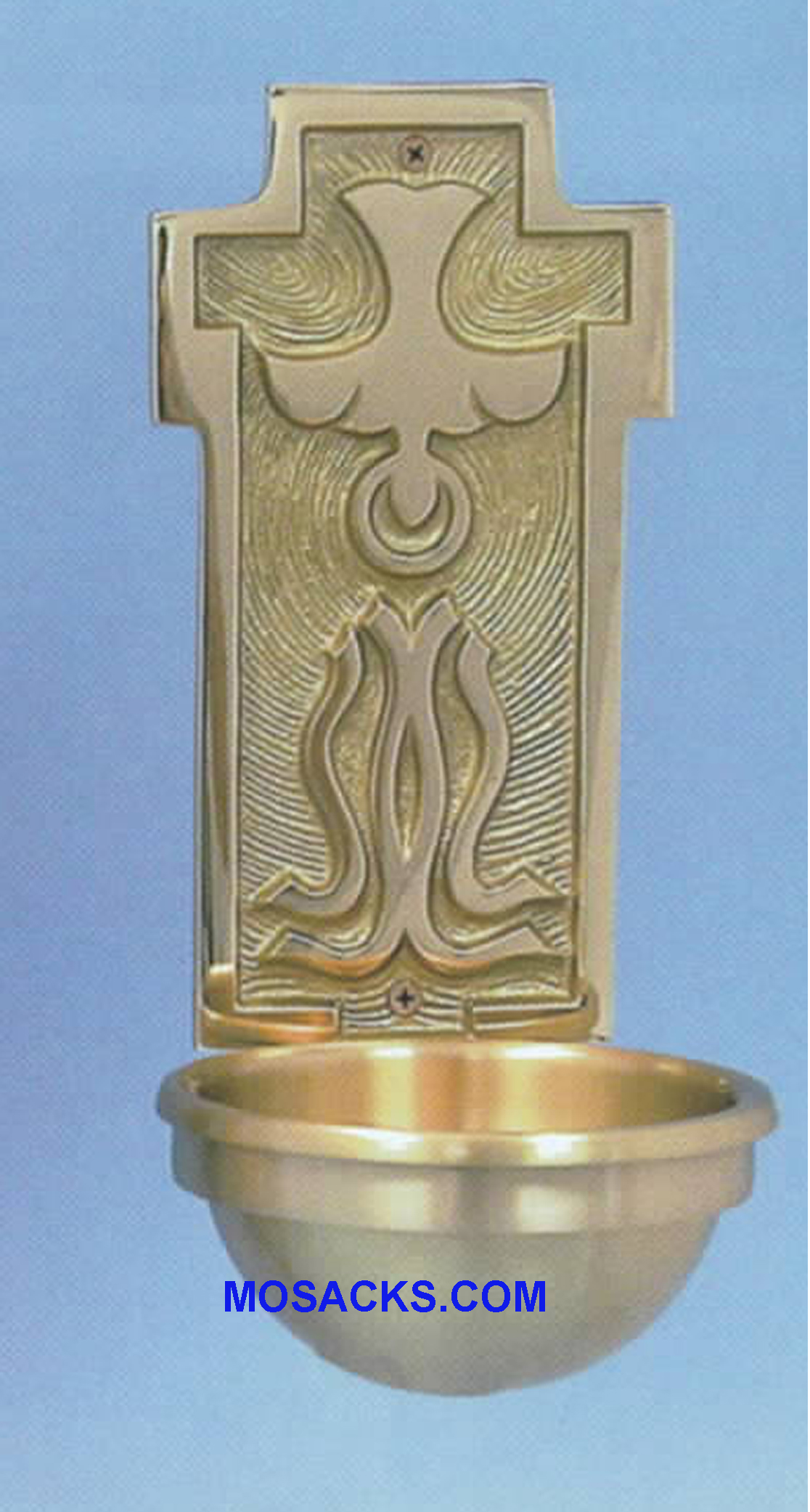 Bronze Holy Water Front Holy Spirit w/Tongues of Fire 40HWF87