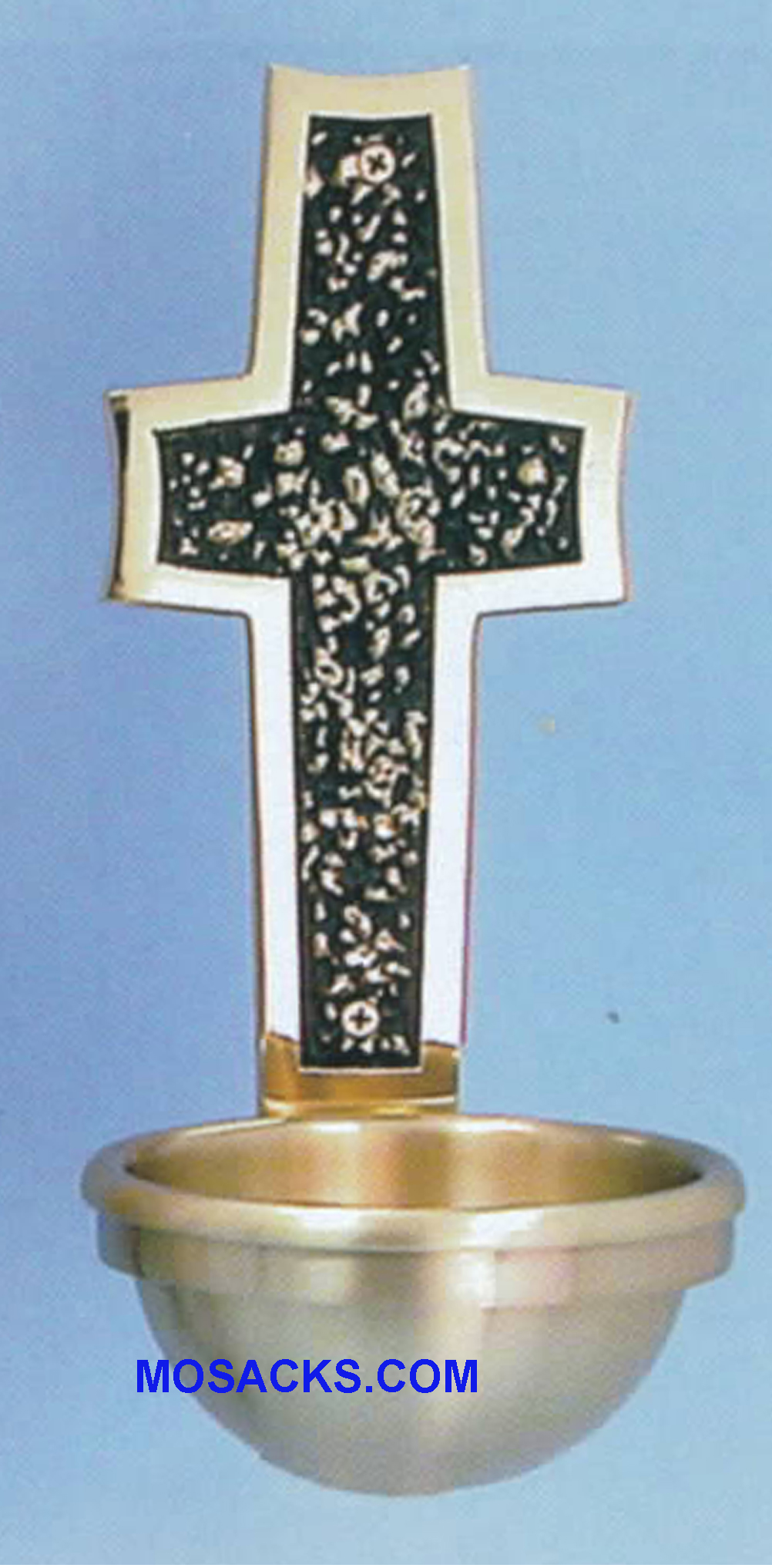Bronze Holy Water Font Textured Cross w/Polished Border 77HWF29