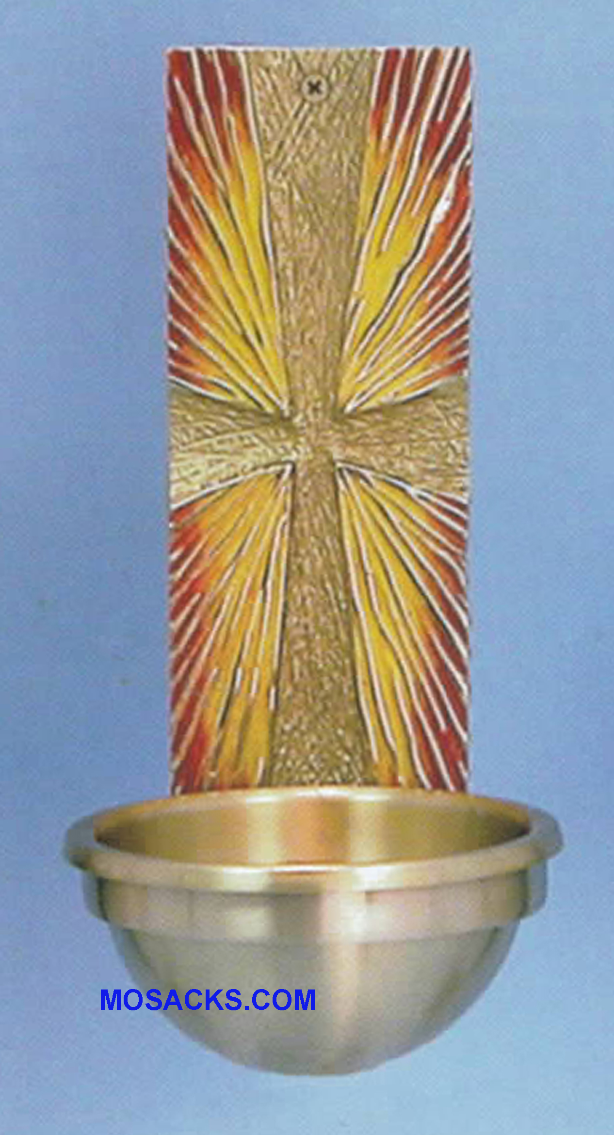 Bronze Holy Water Front Textured Cross w/Sunburst 82HWF30