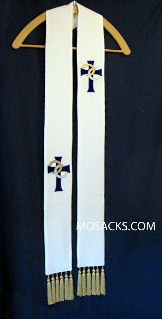 Wedding Overlay Stole in White, Theological Threads  #064259A6V