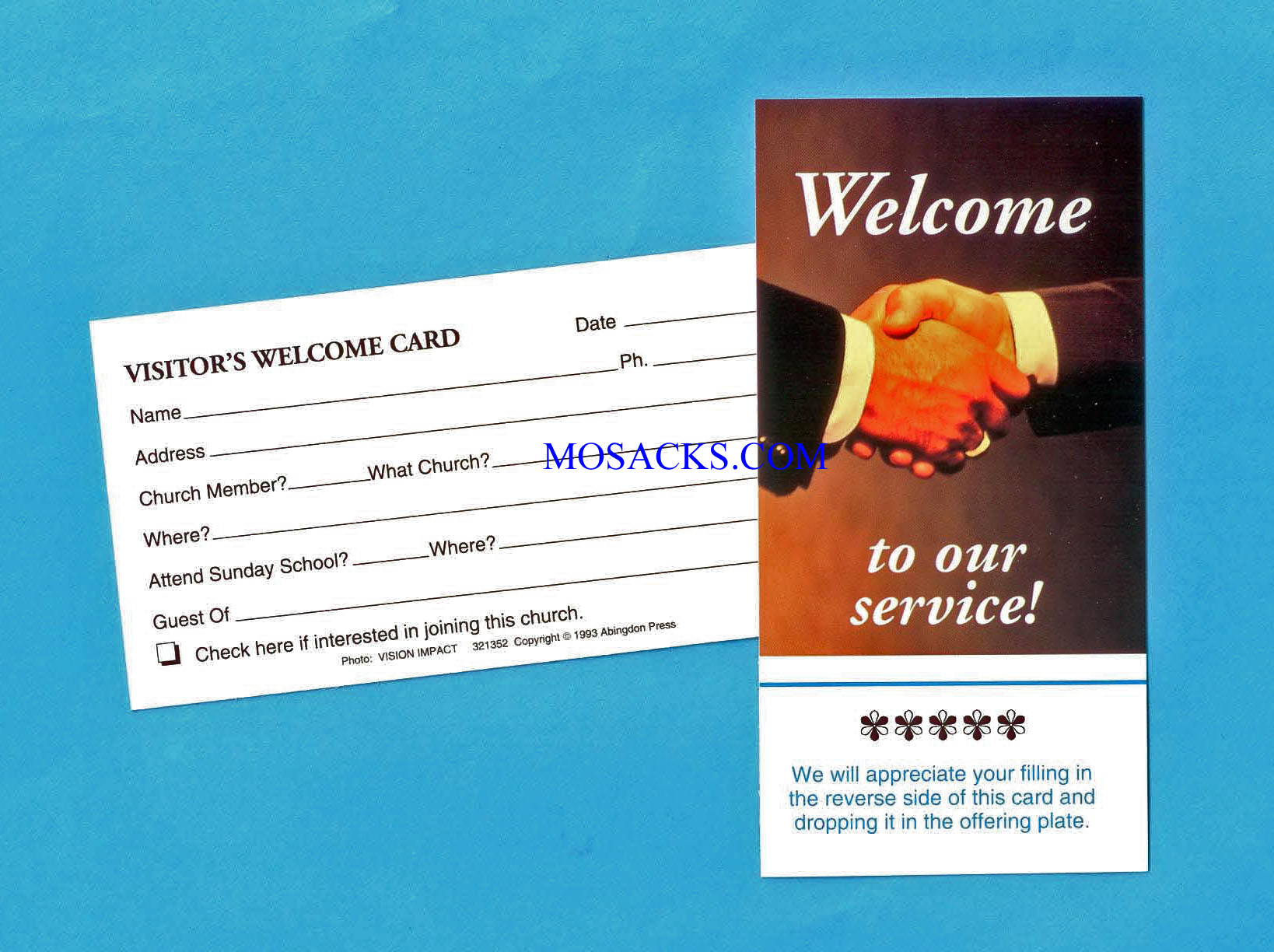 "Welcome To Our Service Card 3"" x 5"", 25 Count"