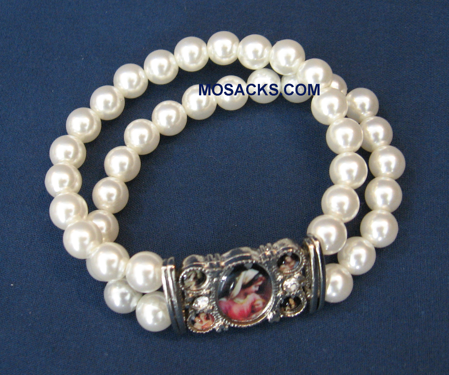 White Faux Pearl Blessed Mother Bracelet, 779