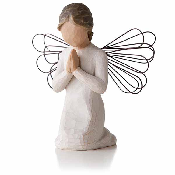 "Willow Tree Angels Angel of Prayer For those who believe in the power of prayer 4"" H 26012 Willow Tree Angel kneeling in prayer with head bent"