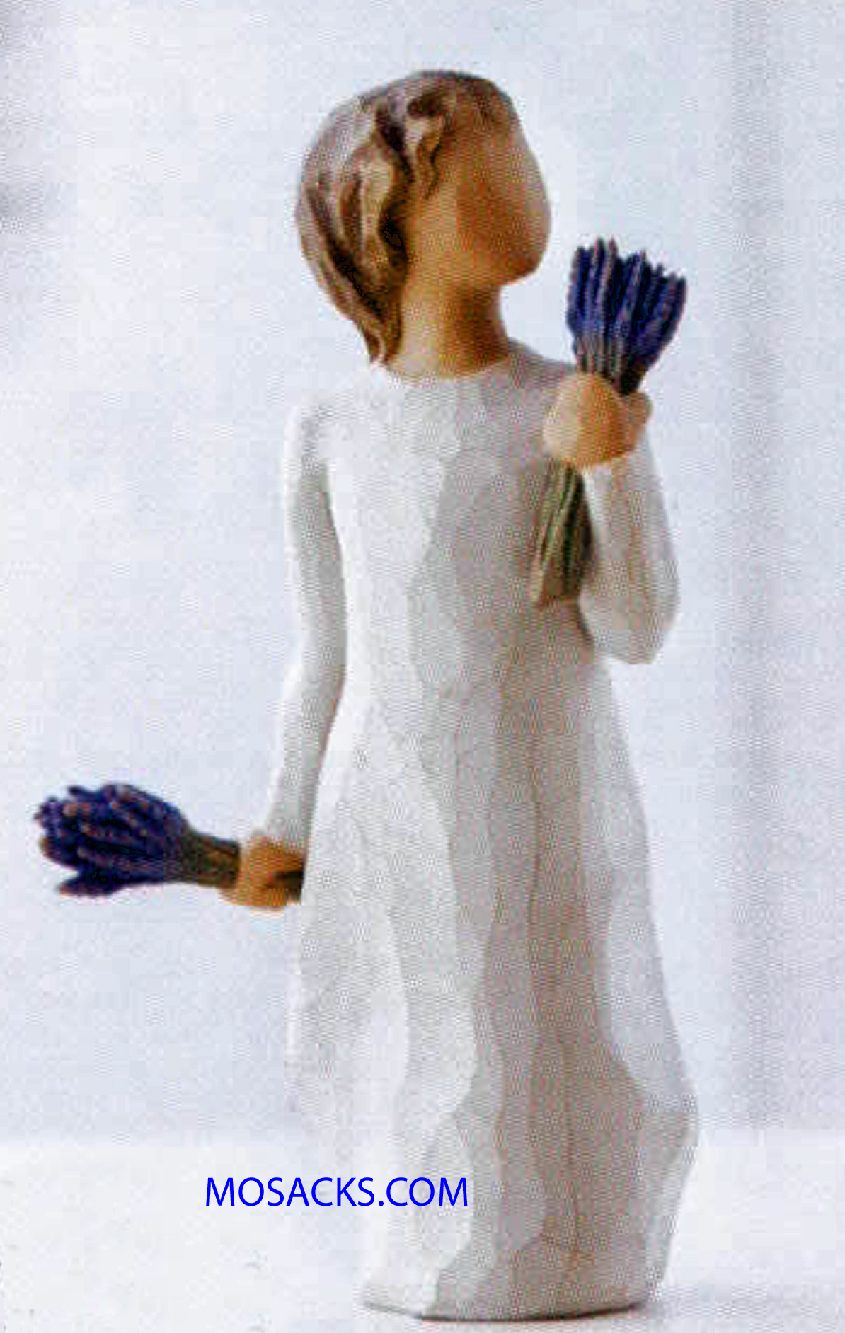 "Willow Tree Figurine, Lavender Grace, May all your senses be filled with healing grace, 5.5""H 26564. This is a figurine of a young girl holding bunches of lavendar in both hands"