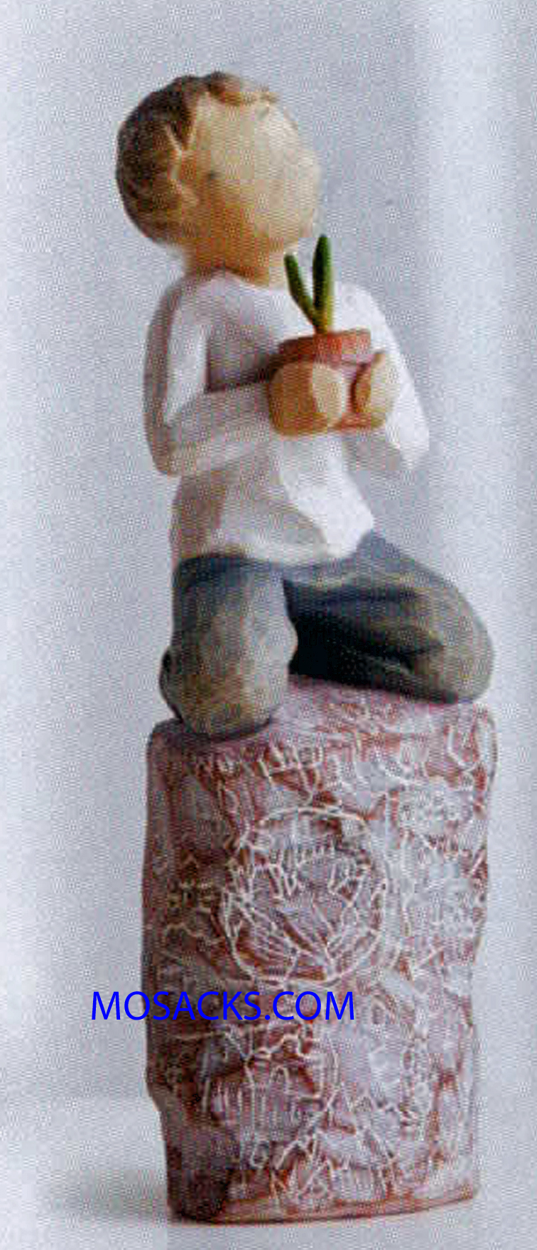 "Willow Tree Figurine, Something Special: You make the world a better place, 5.5"" High 27269. This is a figurine of a small boy kneeling on a rock or stump with a flower pot in his hands 27269 FREE SHIPPING WITH $100. ORDERS"