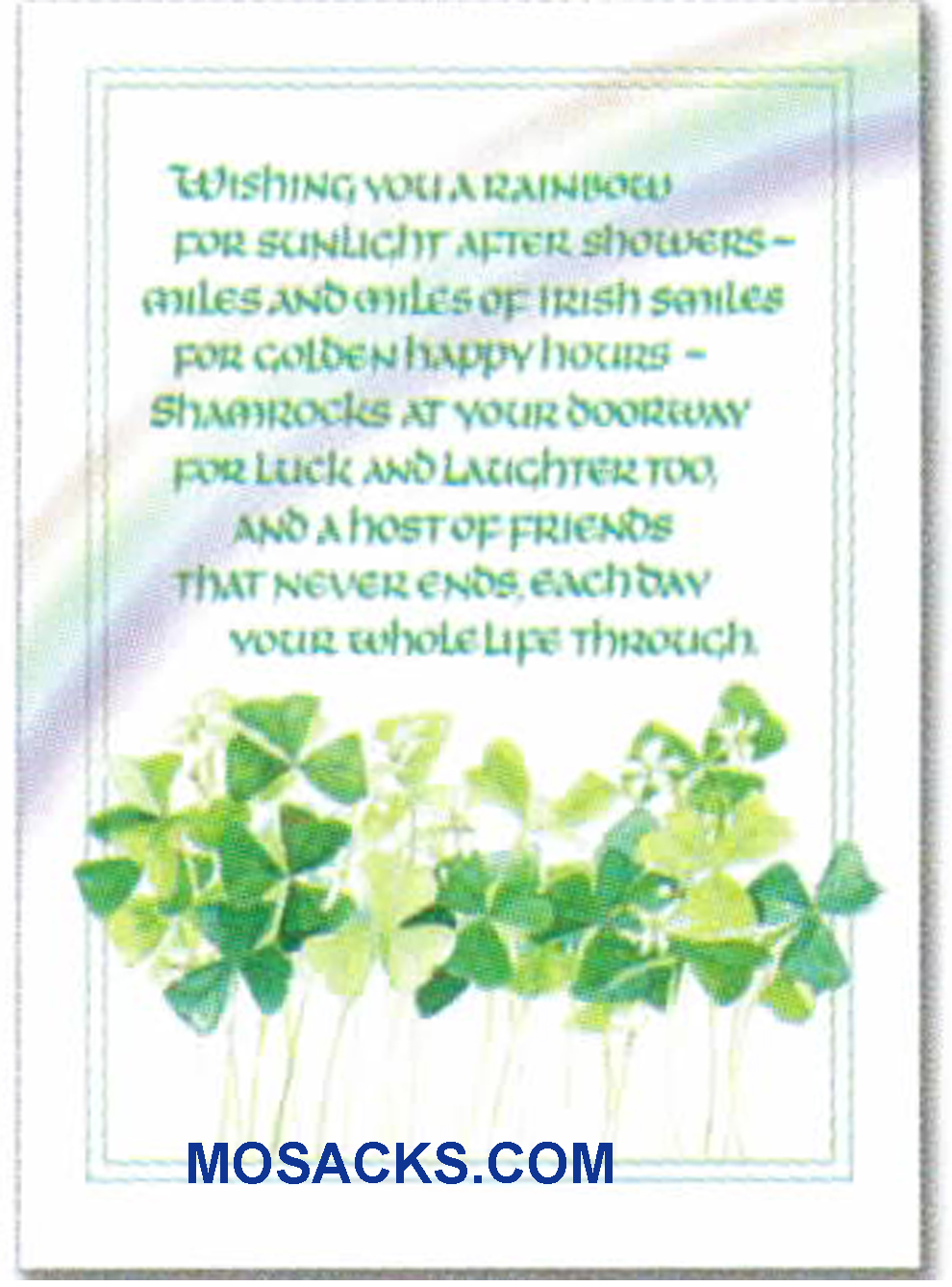 Wishing You A Rainbow For Sunlight After Showers Irish Blessing Note Card with Shamrocks -WCB1612  Blank inside.
