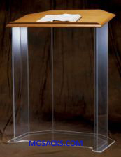 "W Brand Acrylic Pulpit with Wood top and without Cross 3350W is a clear acrylic pulpit stands 48"" tall 3350W"