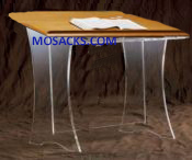 "W Brand Acrylic Table Top Lectern with wood top without cross 20"" w x 18"" d x 20"" h 3311W is a clear acrylic table top lectern 3311W"