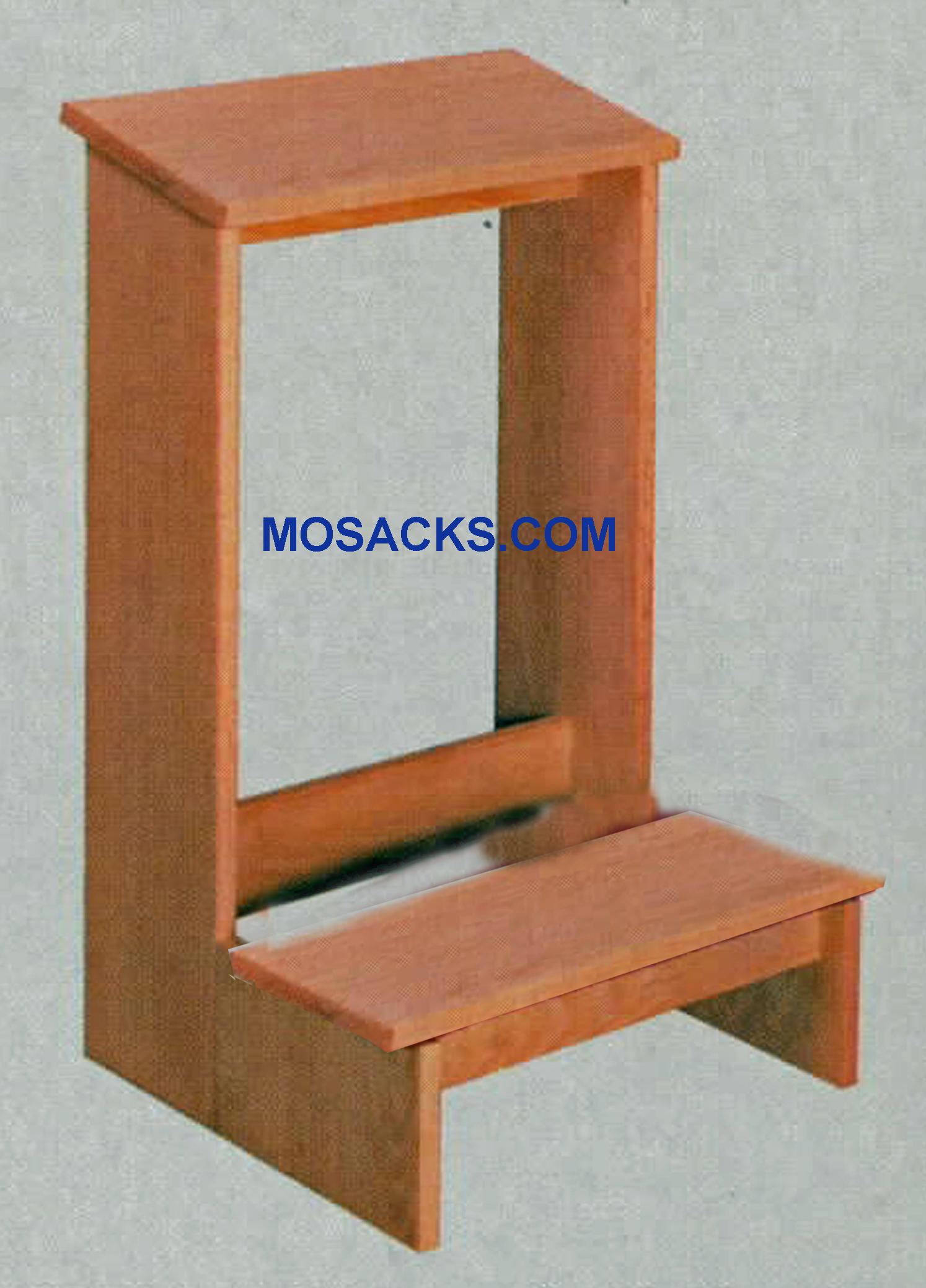"W Brand Prie Dieu Kneeler w/ shelf 19"" w x 19"" d x 30"" h #2301. This Prie Dieu Kneeler with a slanted shelf is finished wood with a wooden kneeler. Various wood stains are available for this Church Kneeler Prie Dieu #2301"